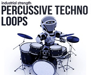 Loopmasters 5 percussive techno loops percussion  conga top loops rims  snares toms  shakers loops one shots electro house hard techno 300 x 250